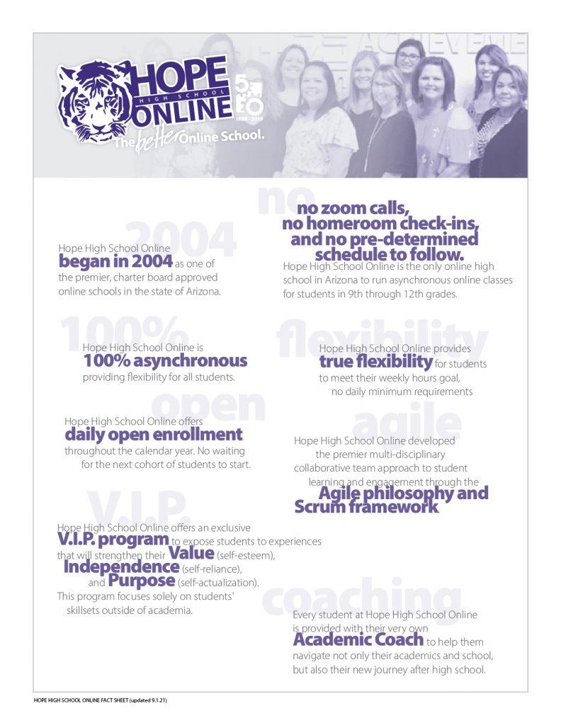Hope High School Online Fact Sheet